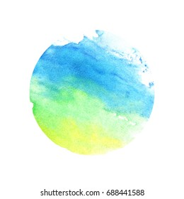 Watercolor green-blue circle. Raster illustration on a white background.Beautiful abstraction. Elements for design.