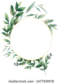 Watercolor greenery branches frame. Hand painted floral template: round plants frame isolated on white background.