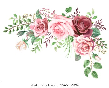 Watercolor Greenery and Roses Bouquet