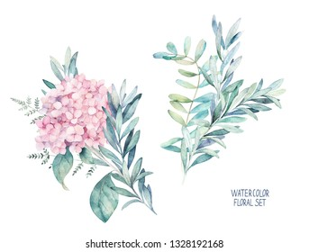 Watercolor greenery set. Hand drawn winter illustration with eucalyptus branch, leaves and hydrangea. Vintage botanical plant