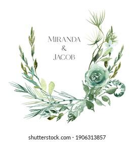 Watercolor greenery wreath clipart, Woodland fern wreath watercolor ,  Design elements for wedding invitation, forest wedding, greenery