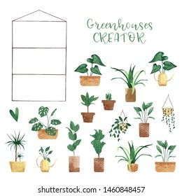 Watercolor greenhouse CREATOR with plants in flower pots. Hand drawn botanical illustration. Perfect for poster, sticker, printable