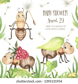 Watercolor greeting card with cute cartoon insects. Great for baby cards, birthday, baby showers, invitations, prints.