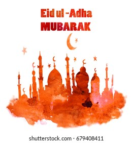 Watercolor Greeting Card Of Eid Al Adha Mubarak. Feast of Sacrifice. Famous Festival of Muslim Community Celebration.