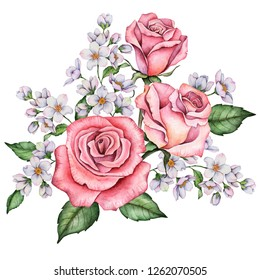 Watercolor greeting card, floral composition. Hand painted illustration of flowers isolated on a white background. Bouquet with roses, jasmine and leaves.