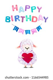 Watercolor greeting card with a happy birthday with the image of a cute sheep with hearts in her hands. Print for greeting cards, invitations, banners, bay textile and posters