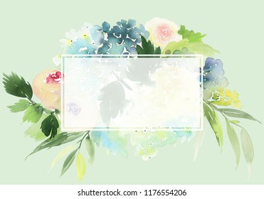 Watercolor greeting card with roses and hydrangeas