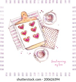 "A watercolor greeting card with tea coffee, hearts cookies, and text ""Good morning, my love""."