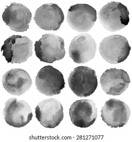 Watercolor Grey Circles Set. Photoshop compilation significant grain and abstract dark bit mapped graphics. Graphic arts are raster. Grunge shape for Business background presentation and advertising.