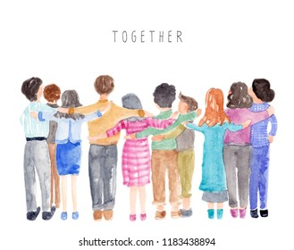 Watercolor group of people huddle in together.
