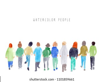 Watercolor group of people walking together.