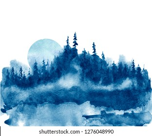 Watercolor group of trees - blue fir, pine, cedar, fir-tree. Forest on the slope, cliff, grief. Blue forest, landscape, fog forest landscape, slope, mountain. Full moon, eclipse. Isolated drawing