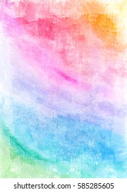 Watercolor grunge background in rainbow colors. Vintage poster, banner, scrapbook page. Handmade aged paper texture in retro style. Can be used for cards, invitations, web, clothing, textile.