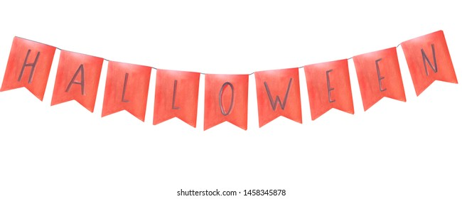 watercolor halloween banner composition greeting card orange flags with letters on a string garland inscription