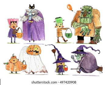Watercolor halloween cartoon character, fun illustration isolated on white background