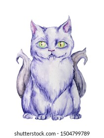 Watercolor halloween character. Hand drawn purple cat with big bright green eyes and devil bat wings, sitting and staring, isolated on white