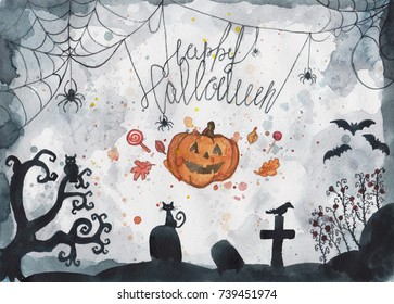watercolor Halloween collage with cobweb, cemetery and bats