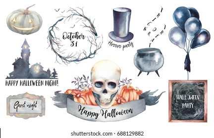 Watercolor Halloween label set. Hand drawn holiday icons isolated on white background. Retro scary house, pumpkins, skull, vampire hat, black air balloons and tree branch wreath
