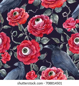 Watercolor  Halloween pattern, red roses with eyeballs and black crows, thorns and leaves. dark background