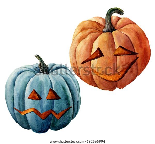 Watercolor Halloween pumpkin. Hand painted carved faces pumpkins isolated on white background. Holiday illustration for design, print or background