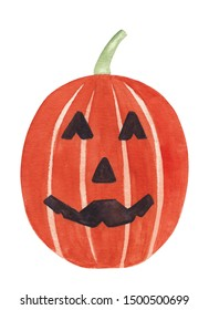 Watercolor halloween pumpkin illustration. Orange pumpkin halloween jack o lantern Hand painted hand drawn illustration isolated on white High resolution great as halloween decor clipart rgb