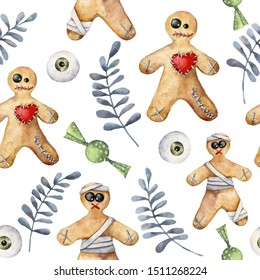 Watercolor halloween seamless pattern with cookie and candy. Hand painted template with gingerbread monsters and eyes isolated on white background. Holiday illustration for design, print, background