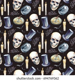 Watercolor Halloween seamless pattern. Hand drawn holiday texture with elements on black background. Candles, pumpkin, skull, vampire hat, bat and tree branch. Scary wallpaper