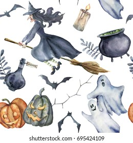 Watercolor Halloween seamless pattern. Hand painted Halloween symbols on white background. Pumpkins, witch hat, candy, spider, potion, cauldron, candle, ghosts, bats and floral branch. Holiday design