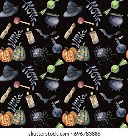 Watercolor Halloween seamless pattern. Hand painted Halloween symbols: pumpkins, witch hat, candy, spider, potion, cauldron, candle, finger, bats and floral branch. Holiday background design