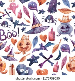 Watercolor Halloween seamless pattern on the white background. Hand-drawn icons: pumpkin, spider, bat, ghost, broom, bone, leaf, candle, heart.