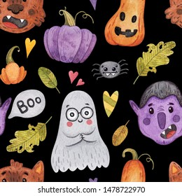 Watercolor Halloween seamless pattern on w background. Spider, purple pumpkin, vampire, Dracula, wolf, werewolf. Perfect for your card designs, wrapping paper, invitations and more.