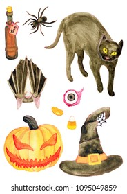 Watercolor halloween set. Hand drawn halloween and witch isolated on white background. Black cat, witch hat, pumpkin head, love potion, eyeball, spider, candy corn, jelly bean