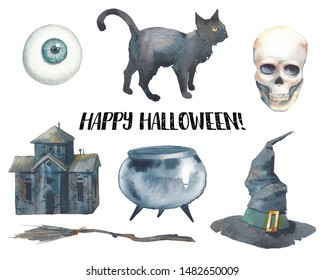 Watercolor Halloween set. Hand drawn holiday icons isolated on white background. Retro scary house, broom, skull, witch hat, cauldron, black cat and eye