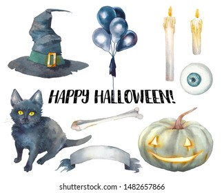 Watercolor Halloween set. Hand drawn holiday icons isolated on white background. Candles, party balloons, bone, pumpkin, witch hat, cauldron, black cat and eye