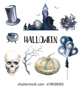 Watercolor Halloween set. Hand drawn holiday icons isolated on white background. Retro scary house, pumpkin, skull, vampire hat, black air balloons, succulent and tree branch