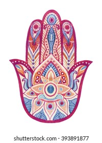 Watercolor hamsa hand with ethnic ornaments. Hand painted illustration for design in tribal, bohemian and ethnic styles.