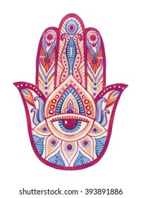 Watercolor hamsa hand with ethnic ornaments and all seeing eye. Hand painted illustration for design in tribal, bohemian and ethnic styles.