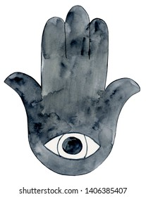 Watercolor Hamsa Illustration, Hamsa Clipart