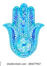 watercolor hamsa illustration. Traditional middle eastern amulet for luck and success. antique superstition for an eye to guard you from bad luck. lace paisleys and plants, beautiful artistic drawing.