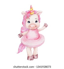Watercolor hand draw illustration with ballerina unicorn in pink skirt; children illustration with white isolated background