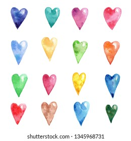 Watercolor hand draw illustration colorful rainbow hearts; can be used as background for cards and invitation; with white isolated background