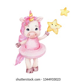 Watercolor hand draw illustration with cute baby unicorn ballerina with two yellow stars; inspired by fairy tales; with white isolated background
