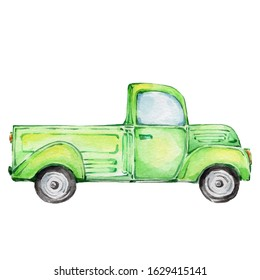 Watercolor hand draw illustration green truck; with white isolated background