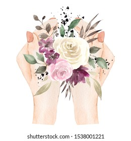 Watercolor hand draw illustration with hands and bouquet of winter flowers and leaves. isolated on white background