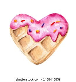Watercolor hand draw illustration with heart shaped pink glazed waffle; food illustration; with white isolated background