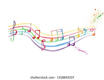 Watercolor hand draw illustration with rainbow music staff and treble clef and musical notes and colorful splash, with white isolated