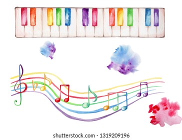 Watercolor hand draw illustration with rainbow music staff and treble clef and colorful piano, with white isolated background