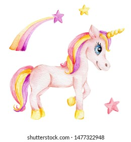 Watercolor hand draw illustration with rainbow unicorn; children illustration; inspired by fairy tale; with white isolated background