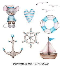 Watercolor hand draw illustration sea set with mouse sailor, anchor, steering wheel, lifebuoy, lighthouse and seagulls, striped heart, boat; blue and white; with white isolated background