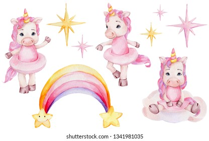 Watercolor hand draw illustration set with three cute ballerinas unicorns in pink skirts, purple and yellow stars, rainbow and cloud; inspired by fairy tales; with white isolated background